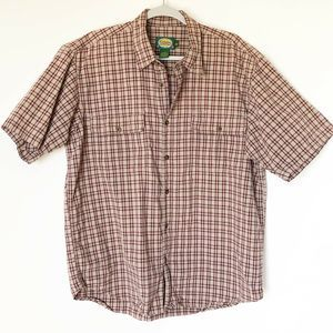 Cabelas Mens Short Sleeve Button Front Shirt Plaid